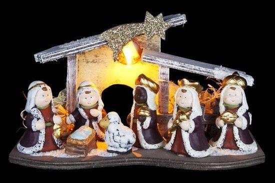 Lichtgevende kerststalletje inclusief 5 kerststal figuurtjes van keramiek - 26 x 12 x 16 cm Valentinaa