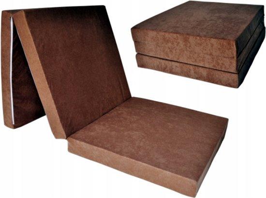 Logeermatras - licht bruin - camping matras - reismatras - opvouwbaar matras - 195 x 60 x 10