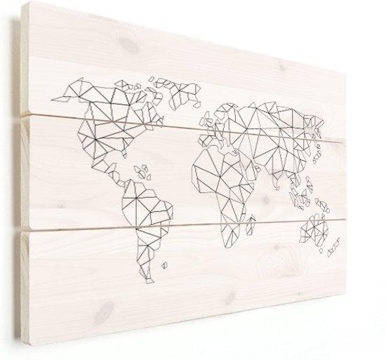 Onwijs bol.com | Wereldkaart van lijnen op vurenhout - kunst - schilderij DG-27