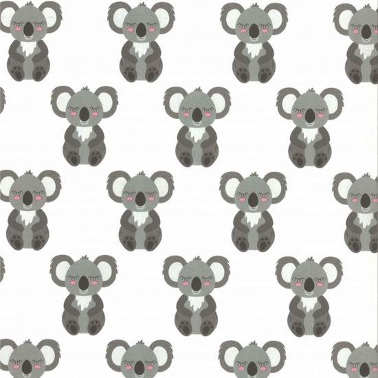 Fabs World - Koala's - wit-grijs-roze - vliesbehang voor in de kinderkamer