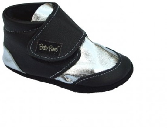 Baby Paws babyslofjes Robin Zwart Zilver  maat 6 = ( 14,5 cm)