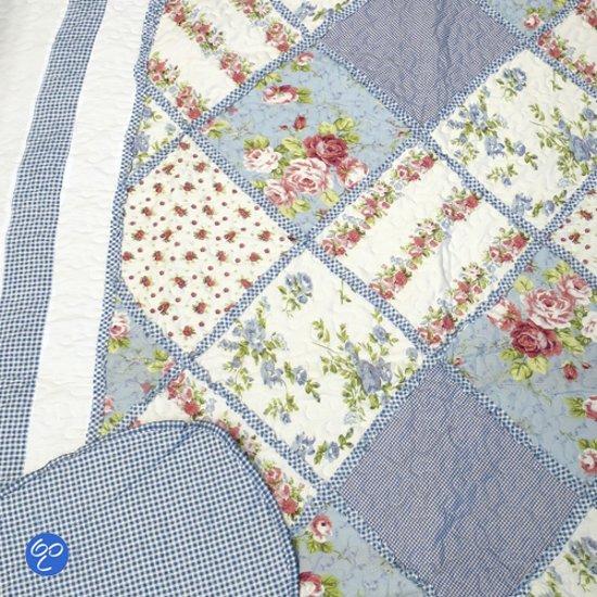Quilt 1 Persoons.Lavandoux Bedsprei Quilt Blauwe Patchwork 140x200 1 Persoons