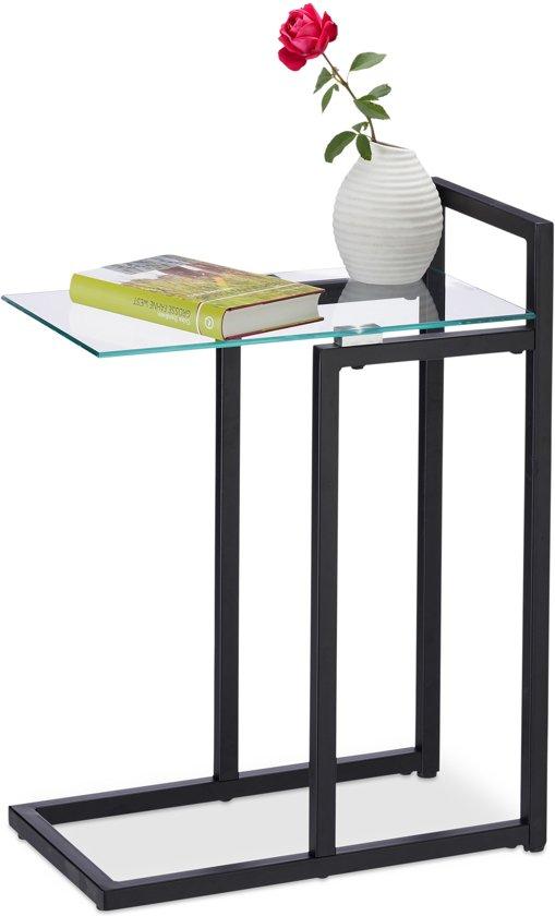 Sidetable Met Glasplaat.Relaxdays Bijzettafel Metaal Glas Salontafel Klein Glasplaat 60 Cm Hoog Sidetable Zwart