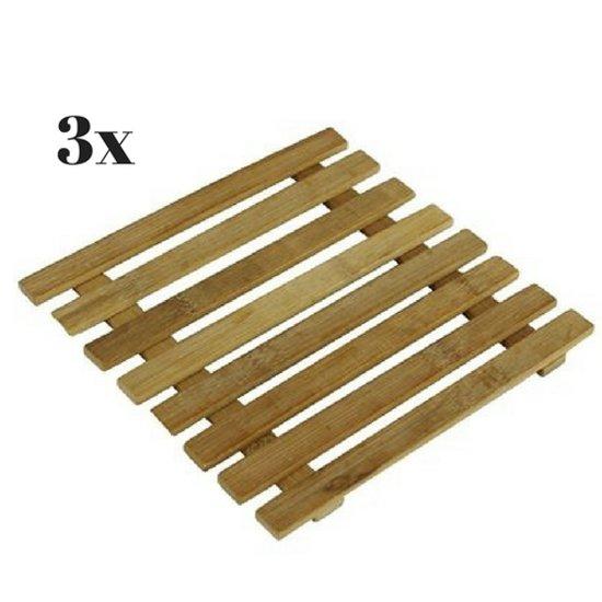 Onderzetters voor pannen 3x bamboe | Placemat | Onderzetter hout | Bescherming