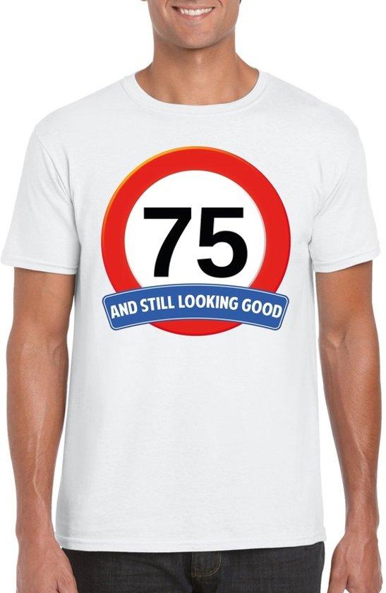 75 jaar and still looking good t-shirt wit - heren - verjaardag shirts 2XL
