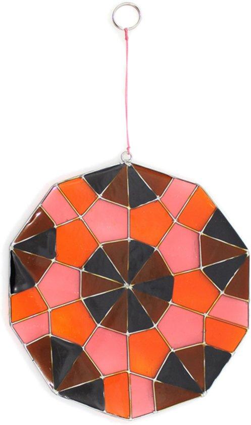 Raamdecoratie Hars Geometrische Rond (Bruin/Oranje)