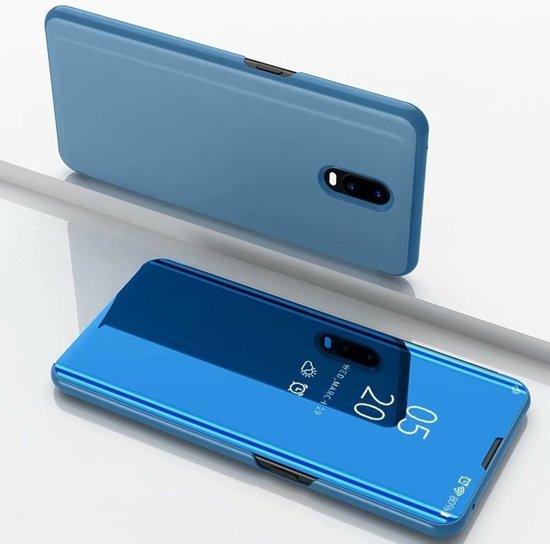 Let op type!! Voor Xiaomi Redmi 8A plating spiegel horizontale Flip lederen draagtas met beugel holster (blauw)