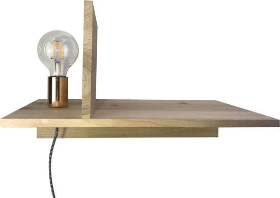 Wandplank Met Lamp.Houten Boekenplank Met Lamp 45x25x28cm Met Gouden Fitting Housevitamin