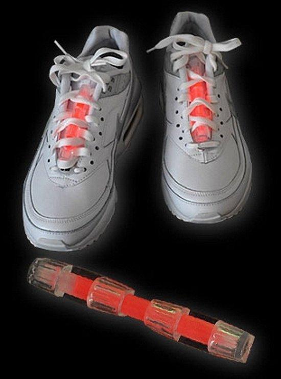 Neon glow in de dark schoenverlichting rood