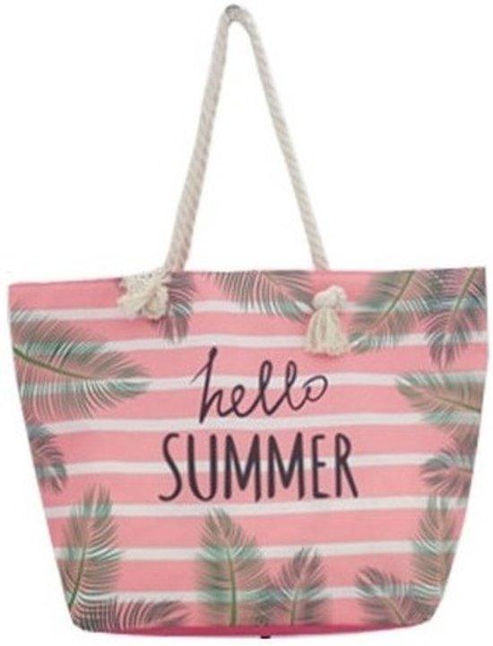 d491dc3ed8b Strandtas roze/wit Hello Summer 54 cm - Strandtassen/schoudertassen roze  met wit -