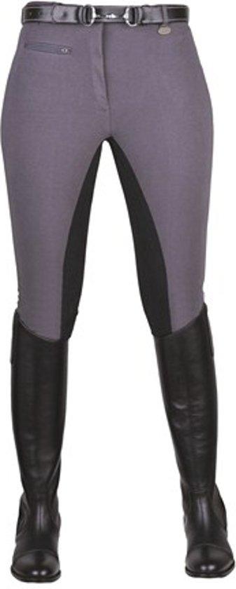 Rijbroek Stretchy 3/4 kunstlederen zitvlak grijs/zwart 84