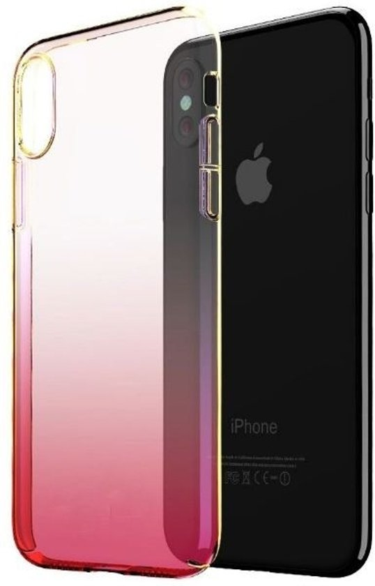 Teleplus iPhone XS Max (Plus) Transparent Colorful Hard Case Pink + Nano Screen Protector hoesje