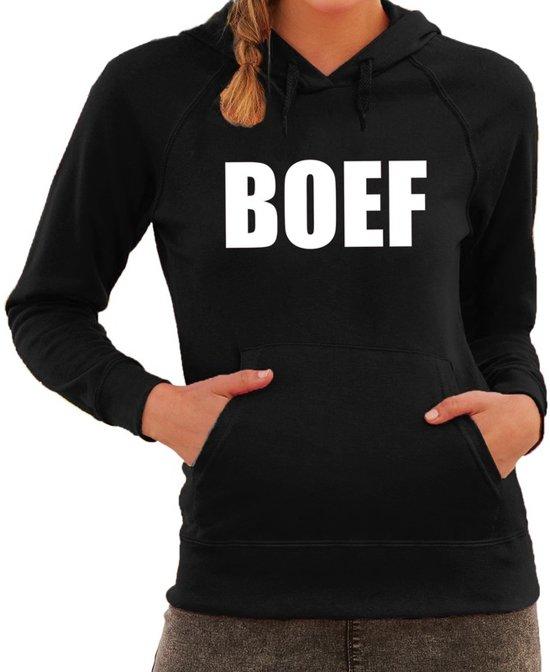 BOEF tekst hoodie zwart voor dames - zwarte fun sweater/trui met capuchon L