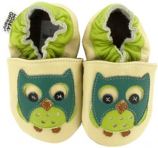 Hobea babyslofjes Eule grün beige