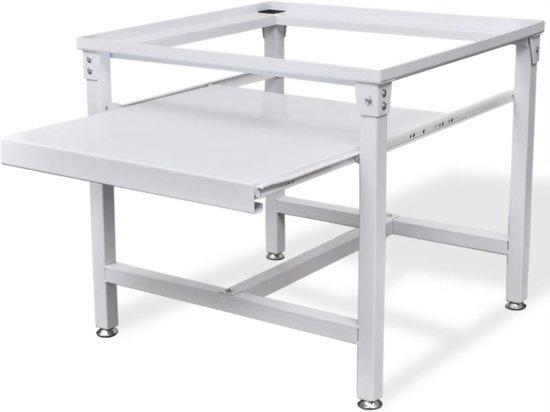 vidaXL Wasmachineverhoging met uittrekbare plank wit