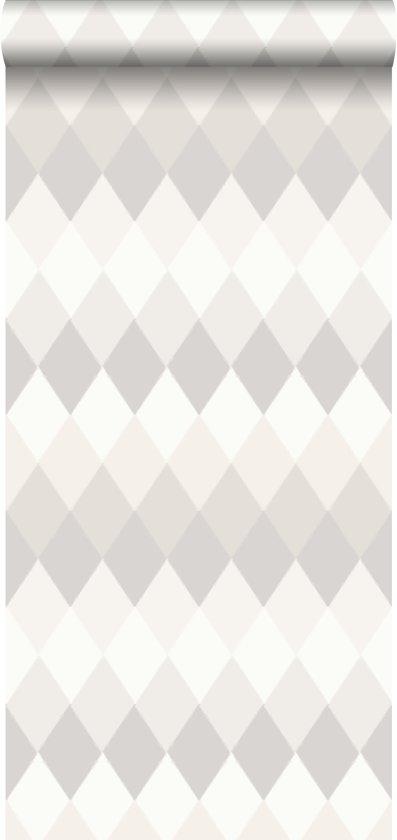 d16458ae7c818e krijtverf eco texture vliesbehang multi wieber ruit met linnen structuur  horizontale streep licht warm grijs tinten
