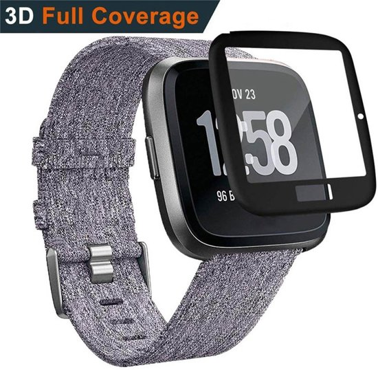3D Edge Cover Screen Protector Cover Case Bumper Hoes Voor Fitbit Versa Lite - Tempered Glass Beschermkap Beschermhoes