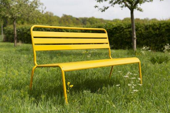 MaximaVida metalen tuinbank Max okergeel 120 cm- stapelbaar