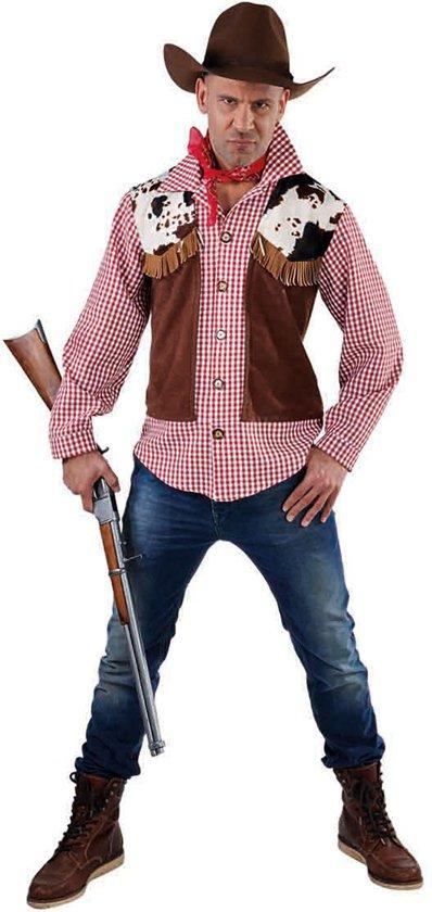 Cowboy & Cowgirl Kostuum | Prairie Jager Cowboy Hemd En Vest Man | XL | Bierfeest | Verkleedkleding