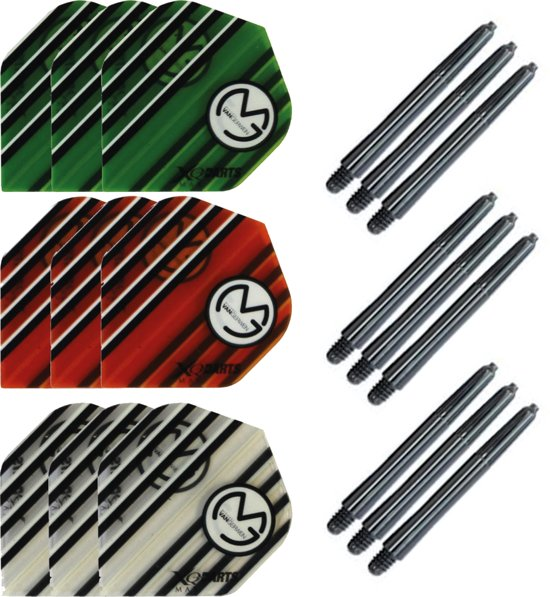 Dragon darts 3 sets (9 stuks) Super Sterke - Multicolor - Michael van Gerwen flights - darts flights - inclusief 3 sets - darts shafts