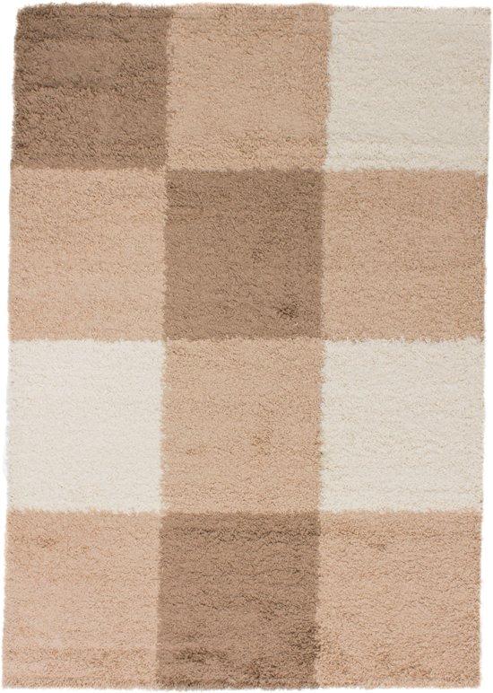 Gunstig Hoogpolig Vloerkleed met Blok Print -  120X170 cm  - Cream Beige Bruin