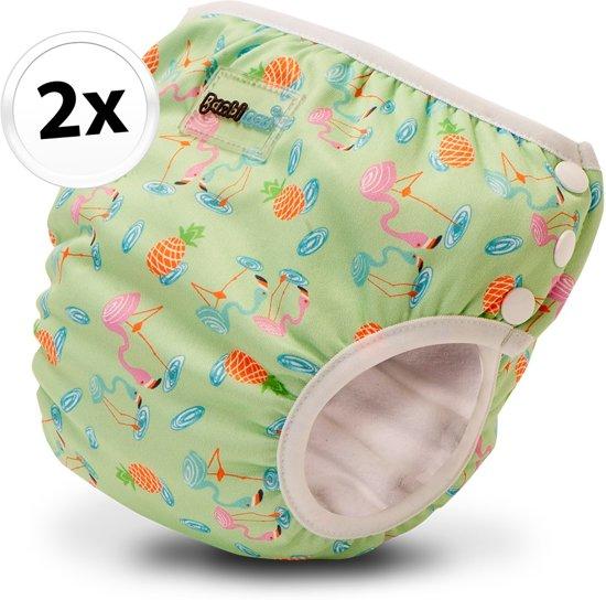 Bambinex wasbare zwemluier en oefenbroekje - 2 stuks - Flamingo - maat M