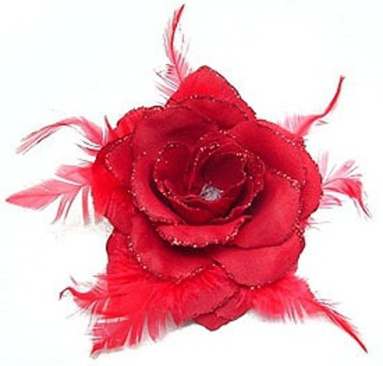 Rode glitter haarbloem