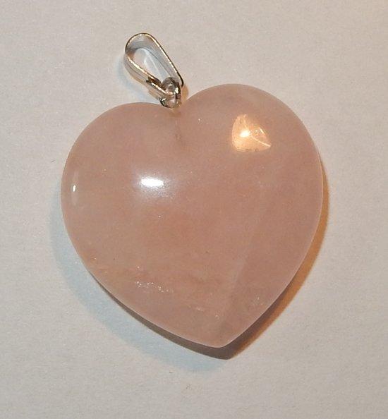 Prachtig Rozenkwarts hart van 25 mm.