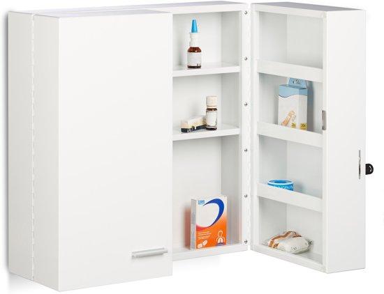 Relaxdays Medicijnkastje Xxl Afsluitbaar Wit Metaal Medicijnkast Groot