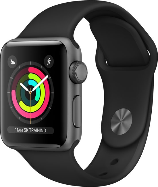 Apple Watch Series 3 - Smartwatch - Spacegrijs/Zwart Sportband - 38mm