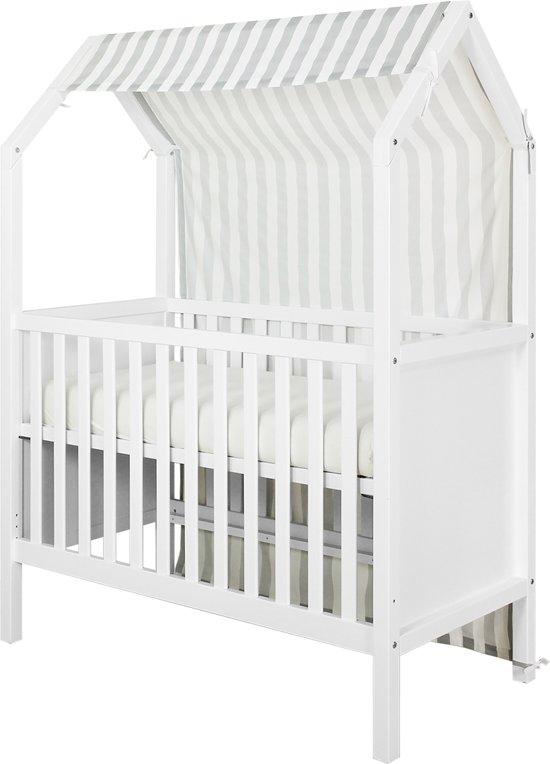 Bopita Speelhuisje Textiel Voor Bed 60 x 120 cm My First House - Grijs/Wit (exclusief box)