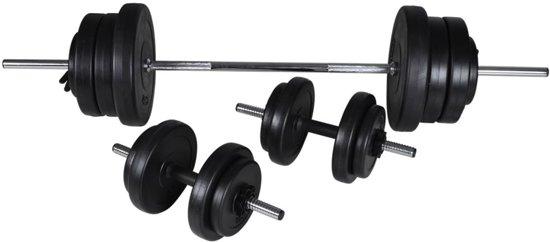 vidaXL - Halterset - 60.5 kg - 2 Dumbbells + Barbell - Zilver/Zwart