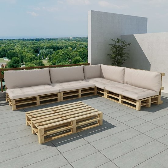 Extreem bol.com   Houten pallet lounge set voor buiten met 15 delen + 9 DX45