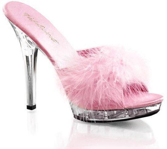 Roze stilettos met veertjes 39