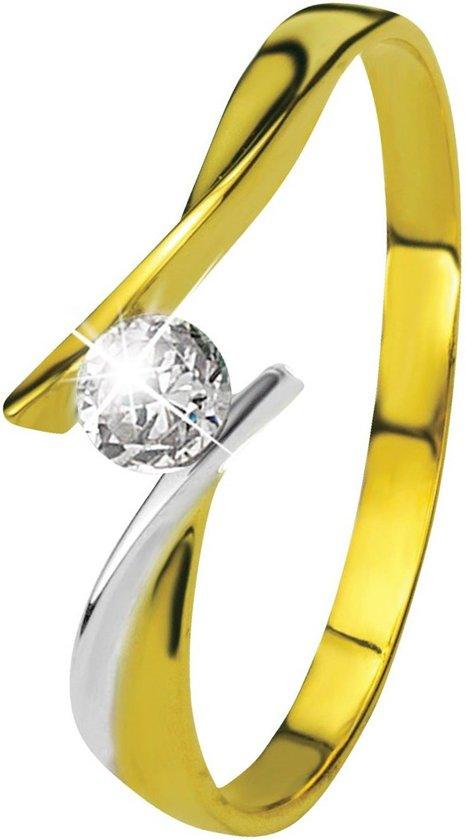 Lucardi 14 Karaat Bicolor Ring - Met Zirkonia - Maat 52