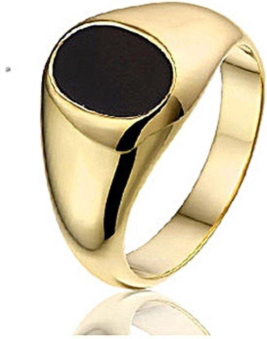 Montebello Ring Riverside - Heren - Zilver Verguld - Onyx - 11 mm - Maat 62 - 19.8