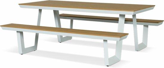 Lanterfant® Picknickset Jip - Aluminium – Lage instap – Wit - Hout