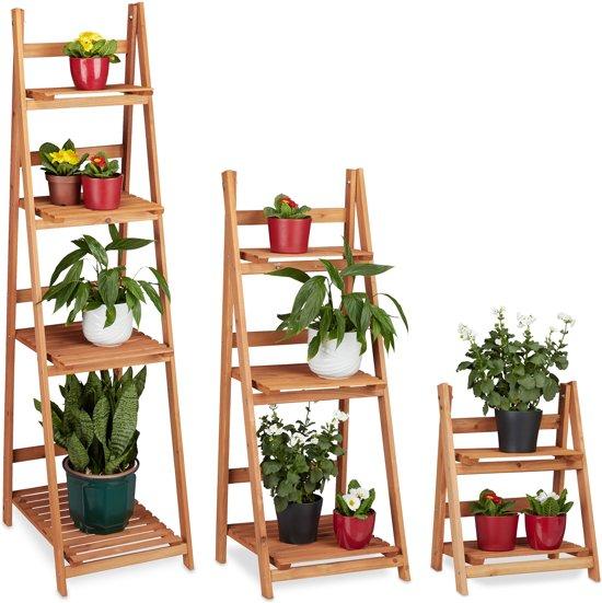 relaxdays - plantenrek L trapvormig hout - plantentrap - plantenstandaard - binnen