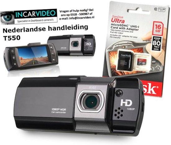 Full HD Auto Dashcam T550 nu incl. Nederlandse handleiding en 16Gb Sandisk Micro-SD kaart