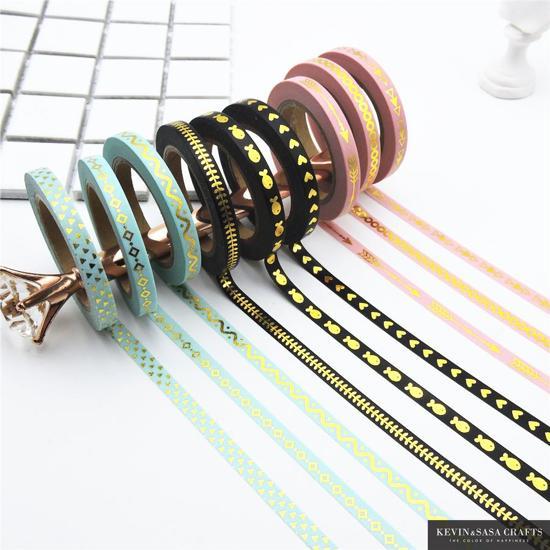 Washi tape pakket - 9 rolletjes smal decoratietape 0,5cm x 10m - Scrapbooking - roze/zwart/turqooise met gouden figuurtjes