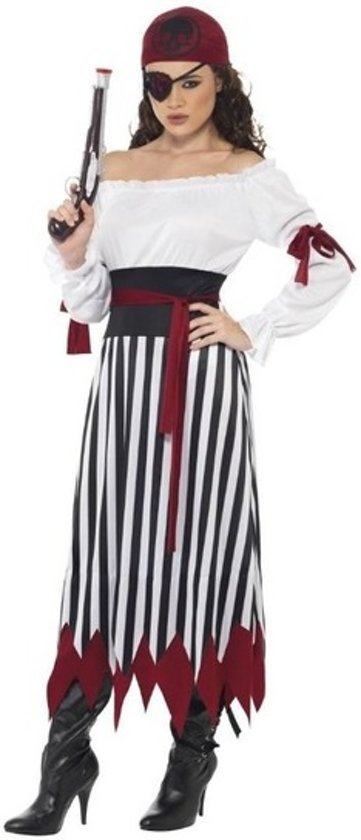 b43d726410d Zwart/wit/rood piraten verkleed kostuum voor dames - Piraat outfit 40-42