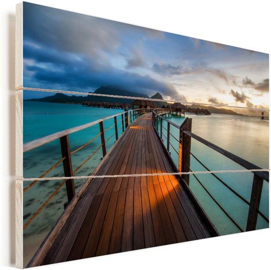 Een zonsondergang op Bora Bora Vurenhout met planken 90x60 cm - Foto print op Hout (Wanddecoratie)