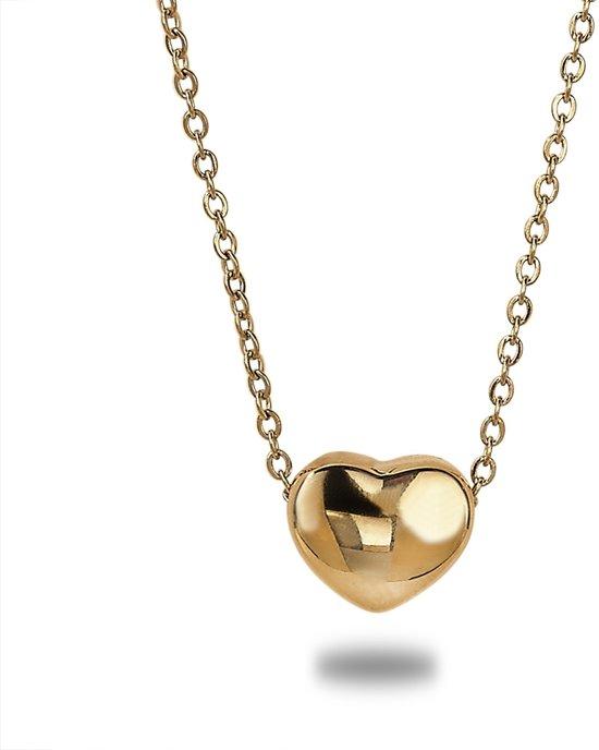Twice As Nice Halsketting in goudkleurig edelstaal, hartje  42 cm+5 cm