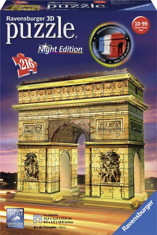 bol.com | Ravensburger Arc de Triomphe Night Edition - 3D puzzel ...