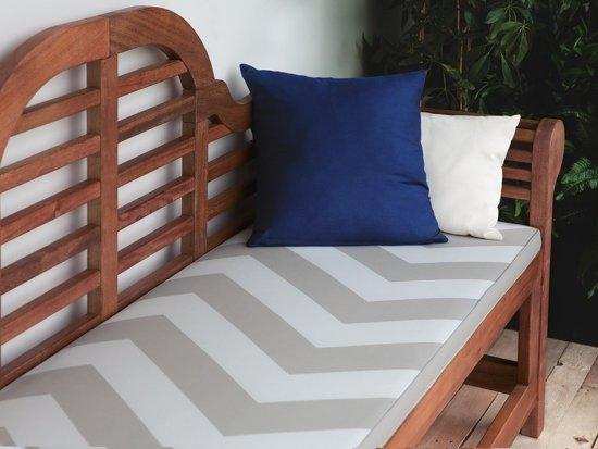 Beliani Tuinbank hout 180 cm met grijs beige kussen TOSCANA MARLBORO