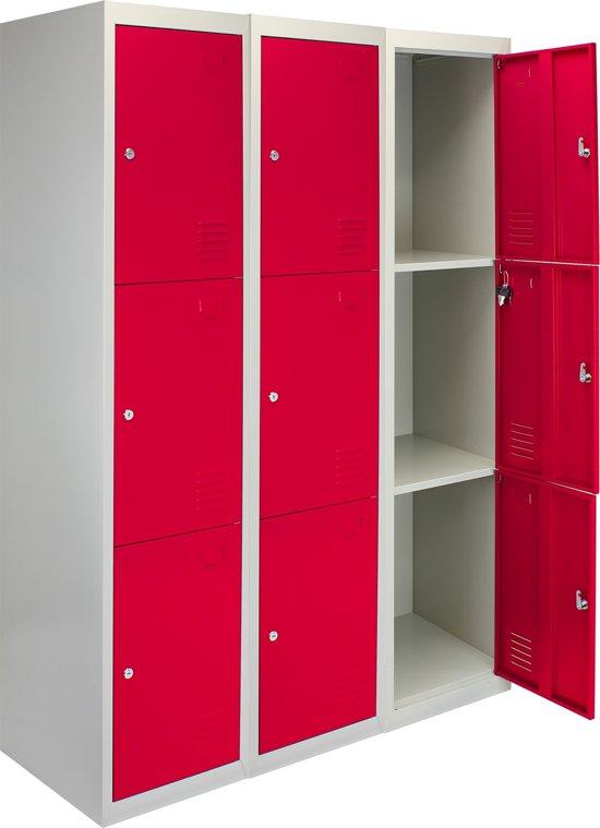 3x Lockers – Lockerkast metaal – locker kledingkast – Rood - 3 Deurs – lockerkastje - Flatpack