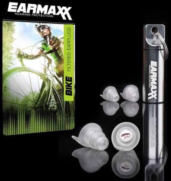 Earmaxx Hearing Protection Bike >fiets-fietsen-comforabele oorpluggen met uniek filter welke windruis reduceerd > verkeer en communicatie gewoon te horen > naast fietsbril en fietshelm een nieuwe must have-incl. 4 oorplugs, 2x medium en 2x large