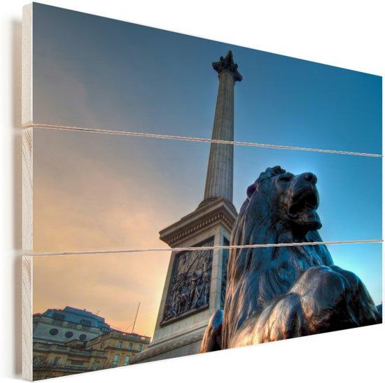 Monumenten op het Trafalgar Square in Londen Vurenhout met planken 120x80 cm - Foto print op Hout (Wanddecoratie)