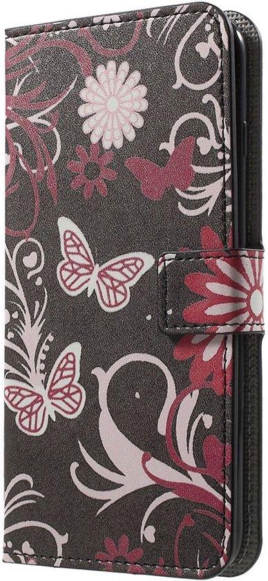 Shop4 - iPhone 8 Plus Hoesje - Wallet Case Vlinders Zwart in Kolderwolde / Kolderwâlde