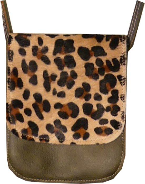 44722cf1030 bol.com | Koedness tas - koeienhuid - leopard - groen / bruin - klein